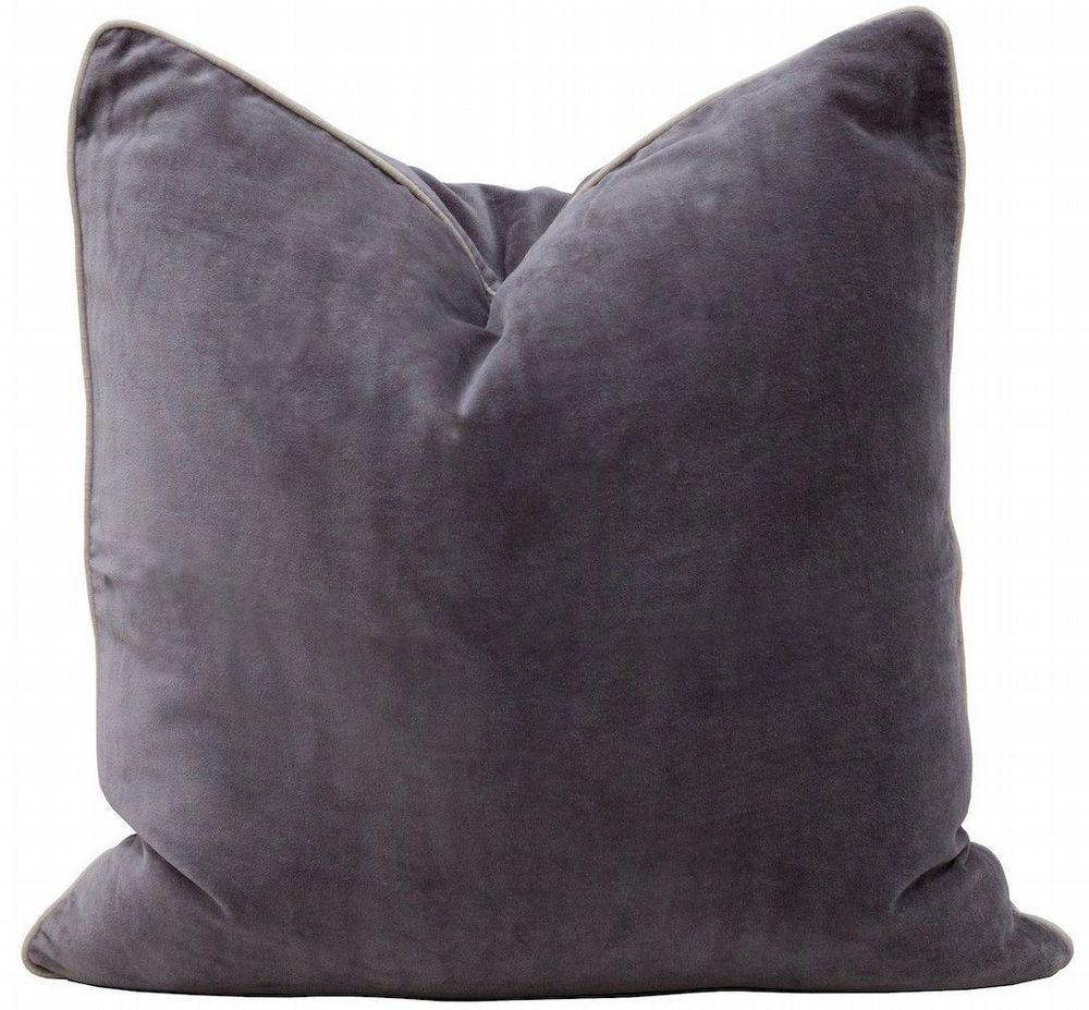 Cotton Velvet Cushion With Contrast Piping - Black Or Pewter Grey